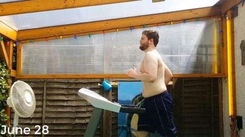 RUNNING TO SUCCESS! BRAVE MAN TRACKS EVERY TREADMILL RUN HE DOES WHILE TOPLESS ON WAY TO LOSING MORE THAN THREE STONE IN EIGHT MONTHS Image