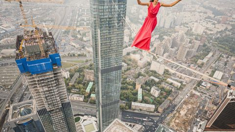 LIVING THE HIGH LIFE; BALANCING ON HIGHLINE ABOVE MOSCOW CITY Image