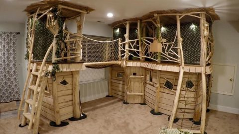 FATHER BUILDS DREAM INDOOR TREEHOUSE FOR HIS KIDS COSTING JUST $500 Image