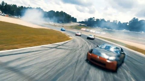 CATCH MY DRIFT? HIGH OCTANE DRONE FOOTAGE CAPTURES SPEEDING DRIFTERS RACE AROUND TRACK Image