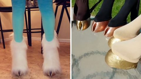 LESS GRAND NATIONAL AND MORE GRAND FASHIONABLE AS DESIGNER CREATES WEARABLE HORSE HOOVES FOR PEOPLE TO GALLOP AROUND IN Image