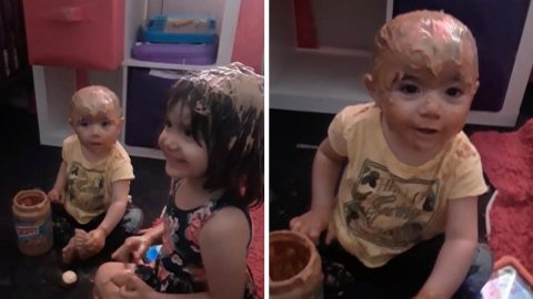 DRIVING MUM NUTTY: NAUGHTY TODDLER COVERS HER SISTER AND HERSELF IN PEANUT BUTTER Image