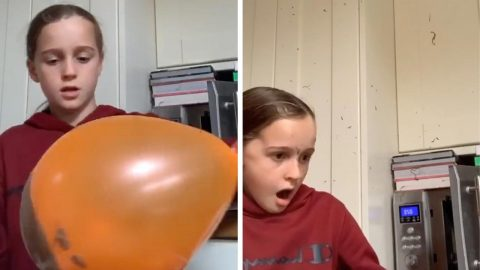 VIRAL VIDEO GIVES WHOLE NEW MEANING TO THE TERM POPPING CANDY AS CHOCOLATE COVERED BALLOON HILARIOUSLY EXPLODES IN GIRLS FACE Image