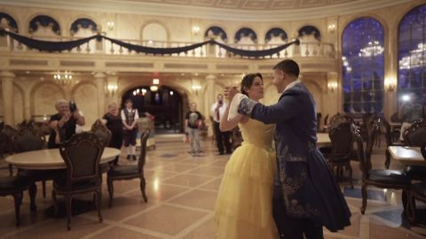 THE BELLE OF THE BALL: ROMANTIC SURPRISE PROPOSAL SEES A COUPLE DANCE IN THE HALLS AT DISNEY BEFORE THE GROOM-TO-BE DROPS TO ONE KNEE Image