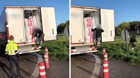TRUCK DRIVER TRAVELLING FROM SWITZERLAND TO ENGLAND STUNNED TO FIND TWO STOWAWAY MIGRANTS IN BACK OF HIS LORRY BEFORE THEY RUN AWAY ACROSS FIELDS AFTER BEING FOUND Image