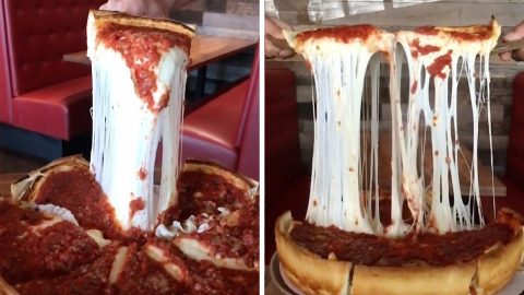 FOOD ENTHUSIAST FINDS RIDICULOUSLY CHEESY PIZZA Image