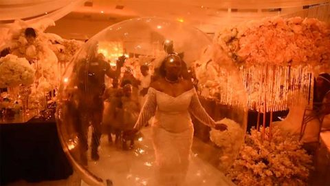 THE BRIDE IN THE BUBBLE: COUPLE CELEBRATE 10 YEAR WEDDING ANNIVERSARY WITH EXTRAVAGANT PARTY AS WIFE MAKES DRAMATIC ENTRANCE IN GIANT BUBBLE Image