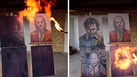 PYRO POTTY PAINTER SETS ART WORLD ALIGHT BY CREATING ICONIC MOVIE PORTRAITS USING SPECTACULAR FIRE-BREATHING TECHNIQUE Image