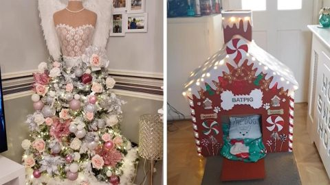 CHRISTMAS-MAD MUM TRANSFORMS SAME ARTIFICIAL TREE INTO A NEW DESIGN EVERY YEAR – FOR JUST £40 Image