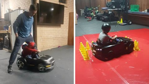 FIVE-YEAR-OLD SPEED DEMON PULLS OFF AMAZING DRIFT SKILLS IN ELECTRIC TOY CAR Image