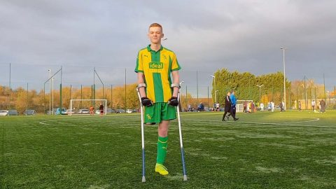 TEEN FOOTBALL WHOSE PRO DREAMS DASHED WHEN HE LOST A LEG TO BONE CANCER PLAYING AGAIN FOR AMPUTEE TEAM Image
