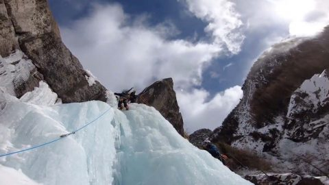 EXPERIENCED CLIMBER SCALES DANGEROUS AND PICTURESQUE FROZEN WATERFALLS IN BREATH-TAKING VIDEO Image
