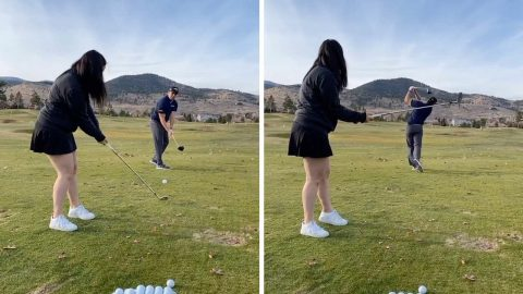 NOW THAT'S TEE-M WORK: COUPLE TEAM UP FOR TRICKY TEE SHOT Image