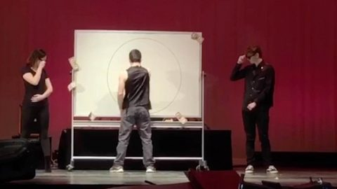 THIS GUY IS NOT MESSING A-ROUND! STUDENT DRAWS PERFECT CIRCLE AS PART OF TALENT CONTEST Image