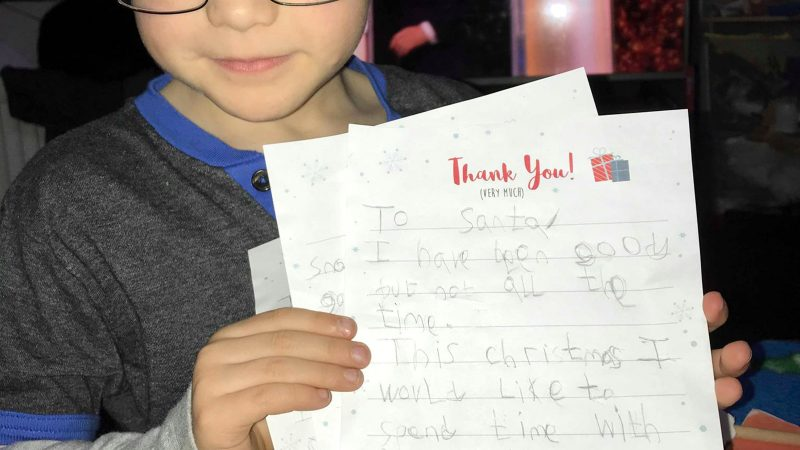 SIX-YEAR-OLD'S HEARTWARMING LETTER TO SANTA ASKS FOR NOTHING BUT 'TIME WITH HIS FAMILY' THIS CHRISTMAS Image
