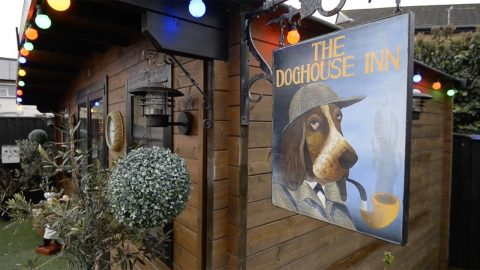 IN THE DOGHOUSE – WIFE STOPS HUBBY DISAPPEARING TO LOCAL BOOZER BY BUILDING PUB IN GARDEN Image