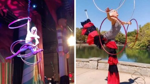 THIS ASTONISHING CIRCUS PERFORMER SPINS SIX HULA HOOPS WHILE HANGING IN MID-AIR BY HER ARM Image