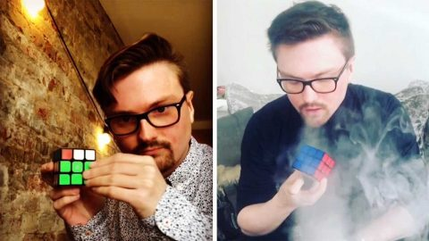 NOW THAT'S A PARTY BRICK! ENTERTAINER PERFORMS INCREDIBLE MAGIC TRICKS WITH RUBIK CUBES Image