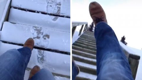 BAD LUCK FOR HOOK-HANDED MAN TURNS INTO ONCE IN A LIFETIME MOMENT AS HE FALLS DOWN ENTIRE STAIRCASE IN CRAZY VIRAL VIDEO Image