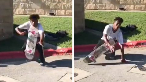 SKATEBOARDER GETS IT IN THE NECK AFTER BRAVE TRICK GOES WRONG Image
