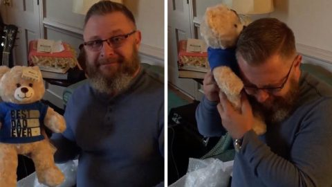 MOTHER CAPTURES TEARJERKIING MOMENT FATHER HEARS SON'S HEARTBEAT IN TEDDY BEAR A YEAR AFTER HE WAS KILLED IN A CAR ACCIDENT AT ONLY 16 YEARS OF AGE Image