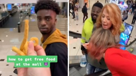 HUNGRY TIKTOKER FINDS UNIQUE WAY TO ENJOY ALL-YOU-CAN-EAT FREE FOOD WHILE VISITING SHOPPING MALL IN HILARIOUS VIRAL VIDEO Image