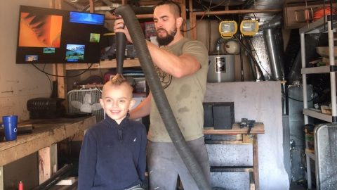 DAD CREATES PERFECT MOHAWK FOR SON WITH A VACUUM Image