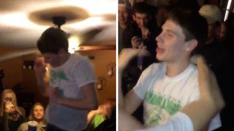 PARTYGOER IN ILL-ADVISED ATTEMPT TO HIT SPINNING CEILING FAN WITH HIS HEAD Image