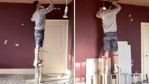 AN EASY WAY TO GET A LEG UP WHILST PLASTERING THE CEILING ON STILTS Image