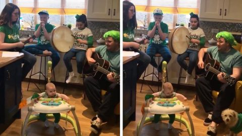 THE CRAIC ISN'T CANCELLED! QUARANTINED IRISH FAMILY STAGE HILARIOUS 'VIRTUAL PADDY'S DAY PARADE' IN KITCHEN Image