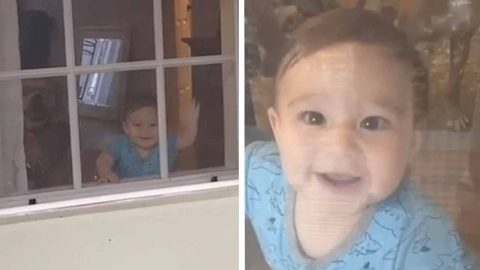 DAD RETURNS HOME TO BE GREETED BY HIS TWO BIGGEST FANS - HIS BABY AND HIS DOG Image