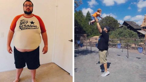 29 STONE DAD WHO THOUGHT 8,000 CALORIE A DAY FAST FOOD ADDICTION WOULD KILL HIM SLIMS DOWN TO SEE HIS SON GROW UP Image