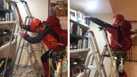 MOUNTAINEERING ENTHUSIAST USES LADDER TO WIPE DOWN SHELVES DURING LOCKDOWN Image
