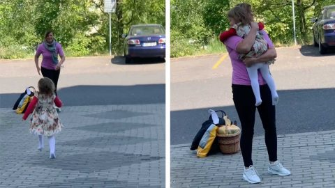 GRANDMOTHER AND GRANDDAUGHTER ARE REUNITED FOR THE FIRST TIME SINCE COVID-19 RESTRICTED BORDER MOVEMENT BETWEEN CZECHIA AND GERMANY Image