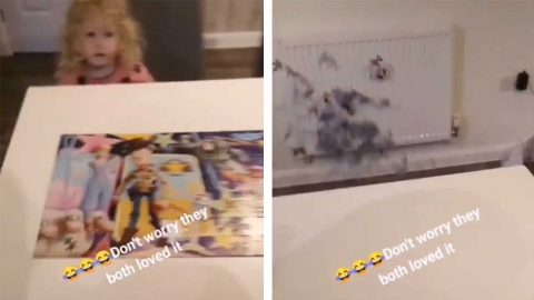DAD LEAVES HIS CHILDREN IN PIECES WHEN HE HILARIOUSLY THROWS THEIR JIGSAW OFF THE TABLE Image