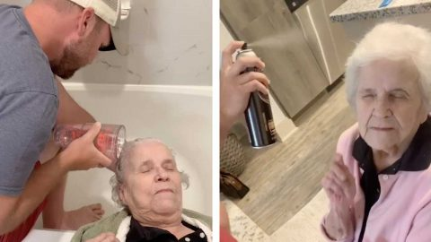 LOVING GRANDSON TREATS ELDERLY GRANDMA TO LOCK-DOWN SALON Image