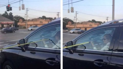 MAN MEASURES GAP BETWEEN CARS AND HAS DRIVER CRACK UP IN 'SOCIAL DISTANCING' ROAD PRANK Image