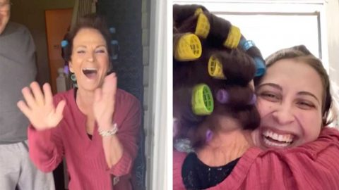 KNOCK AND HUG! MUM IS SWARMED WITH HUGS AS DAUGHTER SURPRISES HER IN LOCKDOWN Image