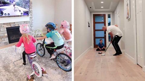 STUCK FOR THINGS TO DO AT HOME? HOW ABOUT HOSTING YOUR OWN OLYMPICS LIKE THIS DAD HAS DONE Image