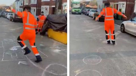 HE'S BIN WORKING HARD! BIN COLLECTOR LIFTED HIS SPIRITS BY ATTEMPTING A CHALK COURSE DRAWN IN THE ROAD Image