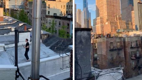 AMAZING MOMENT NEIGHBOURS PLAY FOOTBALL ON NEW YORK'S ROOFS DURING LOCKDOWN Image