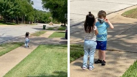 BEST FRIENDS REUNITED – LITTLE BOY AND GIRL SEPARATED FOR TWO MONTHS FINALLY GET TO PLAY TOGETHER AGAIN Image