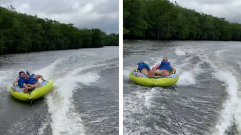 TUBING FUN HITS SOME ROUGH WAVES AS SIBLING'S HEADS COLLIDE IN NASTY KNOCK-OUT FAIL Image