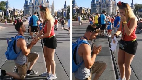 COUPLE SURPRISE ONE ANOTHER WITH MARRIAGE PROPOSAL AND BABY ANNOUNCEMENT AT THE SAME TIME IN DISNEY WORLD'S MAGIC KINGDOM Image