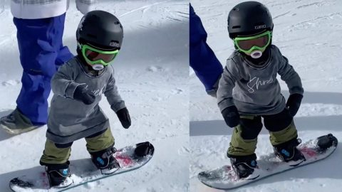 BABY SHREDS ON THE SLOPES – 21 MONTH OLD TOT SHOWS OFF AMAZING SNOWBOARDING TALENT Image
