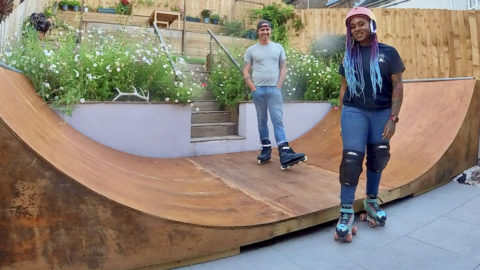 COUPLE TRANSFORM THEIR GARDEN TO MAKE ROOM FOR DREAM 18FT ROLLER SKATING RAMP Image
