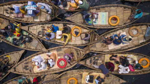 COLOURFUL BOAT COMMUTERS CAUGHT ON DRONE Image
