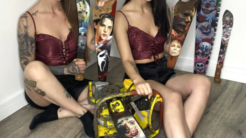 TWIN SISTERS PAINT SPOOKTACULAR HORROR-THEMED PORTRAITS ON SAWS AND MACHETES Image