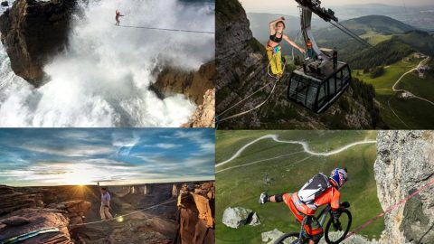 Not slacking – Amazing images show slackliners balancing in the air Image