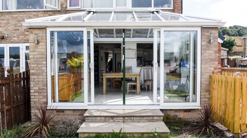 Mum claims she's forced to prop up death trap £20k conservatory with metal pole Image